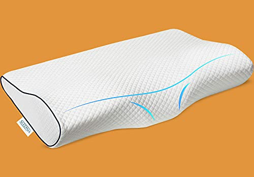 SLEEPSIA Contour Memory Foam Pillow Orthopedic Sleeping Pillows, Ergonomic Cervical Pillow for Neck Pain - for Side Sleepers, Back and Stomach Sleepers (Firm & Queen)