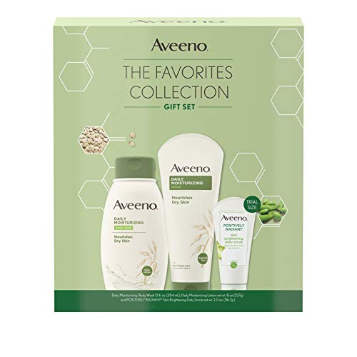 Aveeno The Favorites Collection Skincare Set with Daily Moisturizing Body Wash, Positively Radiant Brightening Daily Scrub, and Daily Moisturizing Lotion, Gift Set for Women, 3 items