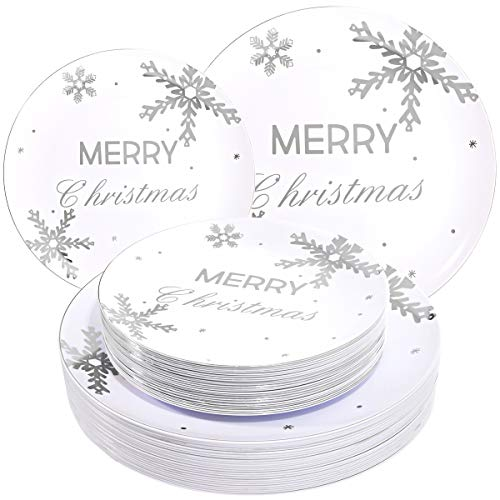 WDF 50Pieces Silver Plastic Plates- Snowflake Plastic Plates-Heavyweight White and Silver Disposable Plates for Christmas