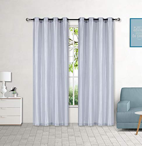 """Sapphire Home 2 Panel Faux Silk Solid Curtain Drapes with Grommet (108"""" Total width by 63"""" L), Solid Color Short Curtain Panels for bedroom or small windows - Non-blackouts /Semi sheer Panels - Silver"""