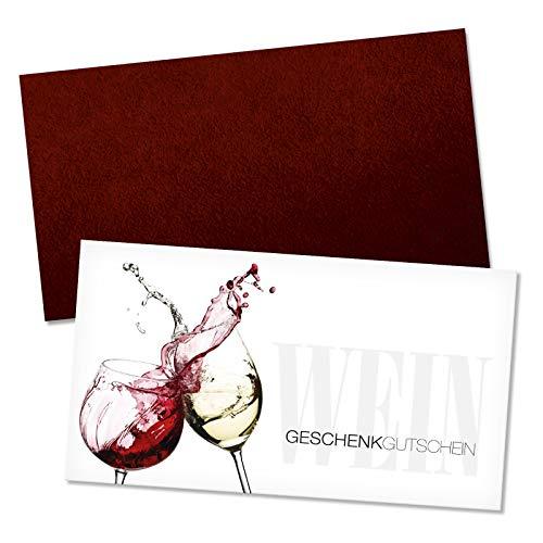 25 hochwertige Gutscheinkarten + 25 Umschläge. Gutscheine für Wein und Sekt Spirituosen. Vorderseite hochglänzend. W1219