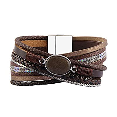 Jenia Leather Wrap Bracelet Multi-Strand Rope Braided Bracelet Casual Cuff Bracelet with Agate Handmade Gift for Women, Teens Girls, Wife, Mother, Lady