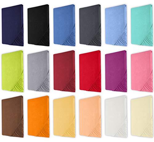 Heim24h Spannbettlaken Jersey Spannbetttuch Baumwolle (Silber, 180 x 200-200 x 200 cm)