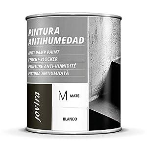 PINTURA ANTIHUMEDAD MATE impermeabilizante. Total proteccion en superfices de fachadas, muros, paredes interior Elimina la humedad, mejora la adherencia y cubre las manchas. (750 ML)