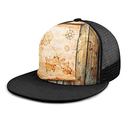 Gorra de bisbol Mapa de la Isla en Madera rstica Piratas nuticos 3D Ajustable Snapback Hip Hop Gorras Sombrero de Malla Sombreros de Camionero