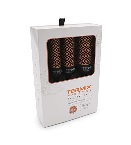 Termix Evolution Special Care - Pack 4 cepillos de pelo térmicos que cuidan el cabello dañado con fibras ionizadas y delicadas que evitan la rotura. El Pack incluye los diámetros: Ø23, Ø28, Ø32 y Ø43