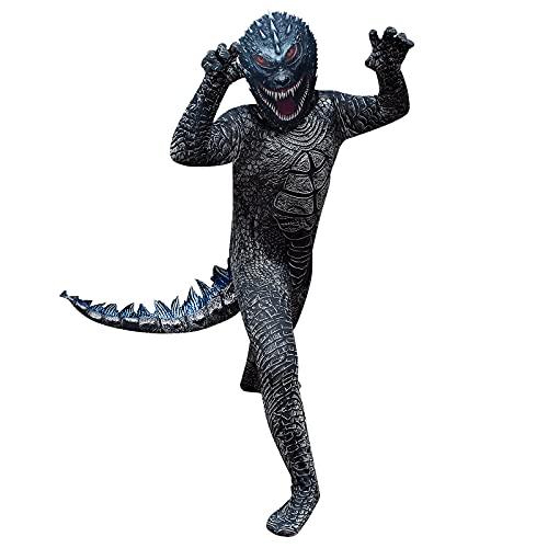 LUCKYER Costume da Godzilla per Bambini, Creature Bizzarre, Costume Alieno per Ragazzi, Adatto per Halloween e Giochi di Ruolo, Nero, 120-130cm