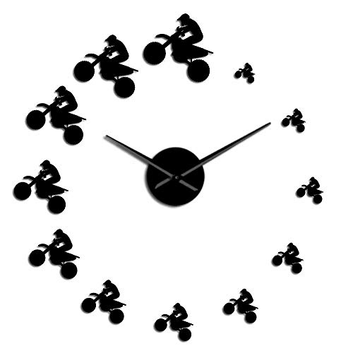 WAWD DIY Wall Clock Mute Off-Road Bike Rider Extreme Sports air Off-Road Vehicle Mountain Bike Motorcycle Clock Suitable for Living Room Bedroom Office Home Decoration