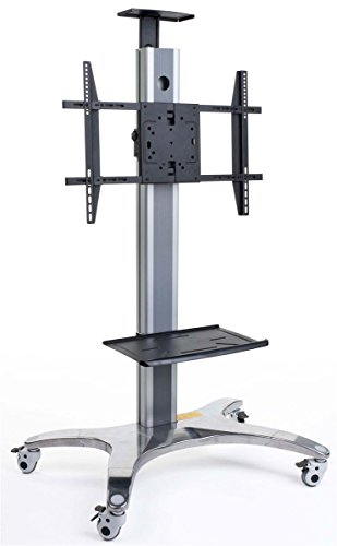 Hot Sale Displays2go EMSTN3C Chrome And Black Powder Finish Rolling TV Stand, 35 x 76-3/4 x 27-Inch, Free-Standing, With Casters and Accessory Tray/40-65