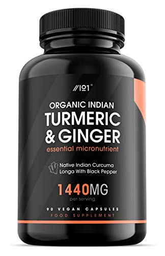 Organic Indian Turmeric, Ginger & BioPerine - Freeze Dry Native Indian Curcuma Longa with Black Pepper - Non-GMO, Gluten Free, 90 Vegan Capsules