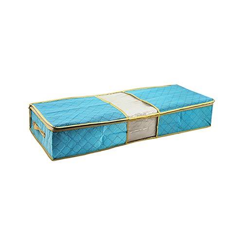 Gran capacidad portátil plegable debajo de la cama edredón manta Zapatos bolsa de almacenamiento duradero no tejido de la tela a prueba de polvo ropa Organizador ( Color : Blue , Size : 85x40x14cm )