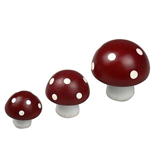 Set mit 3 roten Holz-Magneten zum Basteln mit kleinen Pilzen, Gartenzaun, Tür, Wand, Kühlschrankmagnet