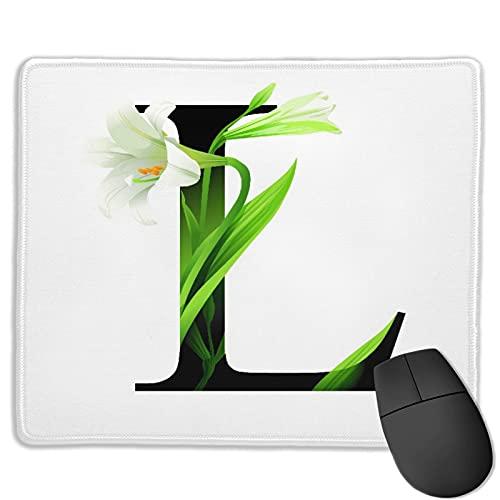 Tappetino per mouse per ufficio personalizzato,Alfabeto lettera L con giglio fiore ABC tipo, Tappetino per mouse da gioco quadrato in gomma antiscivolo , Scrivania personalizzata, 9,5 'x 7,9'
