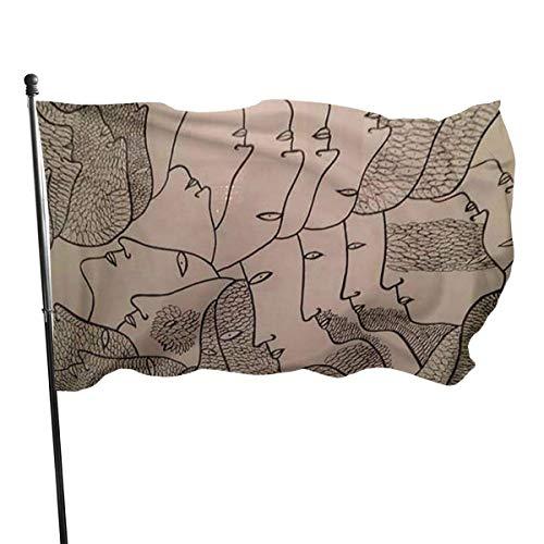 Oaqueen Banderas Avant Garde Art People Faces Garden Flag Yard Home Outdoor Decor Durable and Fade Resistant 3\'x5\' FT