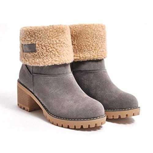 Cadiyo Damenmode High Heel Patchwork Reißverschluss Winterstiefel Stiefel & Stiefeletten