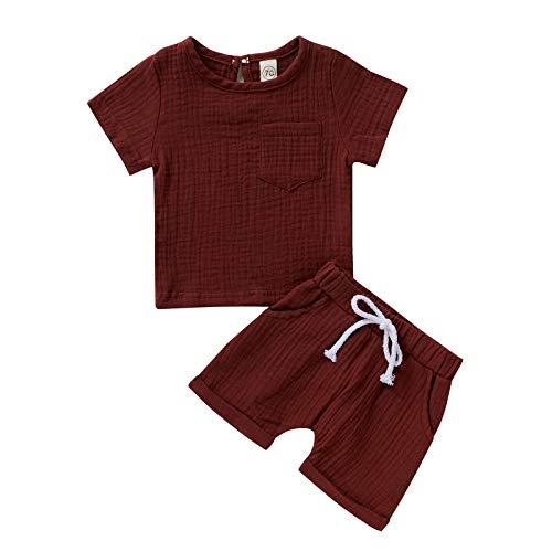 L&ieserram Vestiti Tinta Unita 2pz di Camicia a Manica Corta+Pantaloncini Set a casa o Pigiama per Neonato Bimbo Maschile Femminile Primaverile Estivo Autunnale (Vino Rosso, 3-4 Anni)
