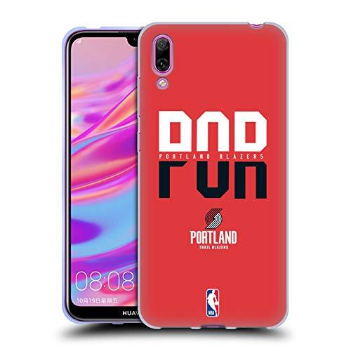 Officiële NBA Typografie 2019/20 Portland Trail Blazers Soft Gel Case Compatibel voor Huawei Enjoy 9 (2018)