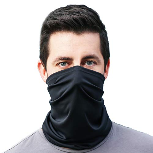 Gaiter King, Neck Gaiter Cooling Face Mask Made in California from 100% Breathable Polyester – Moisture Wicking Facial Protection from Sun, Dust, Cold, Wind – Everyday Wear (Black)