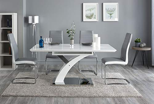 Pescara Dining Table Set and 4/6/8 Upholstered Padded Grey and White Faux Leather Chairs by FURNITUREONE® (Table &6 Chairs)