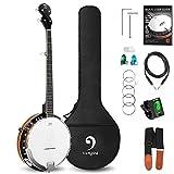 Vangoa VBJ-4E Acoustic-electric 5-String Banjo, Mahogany Electric Banjo Kit with...