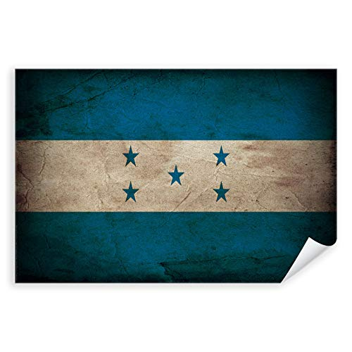 Postereck - 0347 - Vintage Flagge, Fahne Honduras Tegucigalpa - Unterricht Klassenzimmer Schule Wandposter Fotoposter Bilder Wandbild Wandbilder - Poster mit Rahmen - 29,0 cm x 19,0 cm