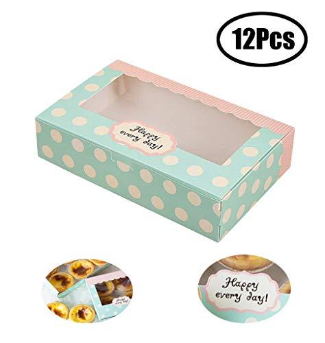 Lvcky - Juego de 12 Cajas de Papel para Tartas, Galletas, Pasteles, Pasteles, Cajas de Regalo de pastelería de 20,32 cm