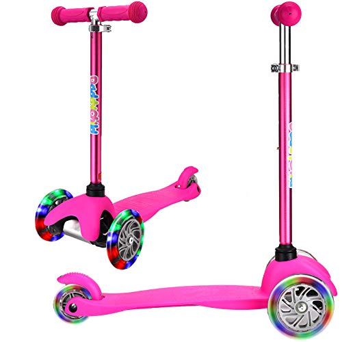 3 Wheel Scooters for Kids, Kick Scooter for Toddlers 2-6 Years Old, Boys and Girls Scooter with Light Up Wheels, Mini Scooter for Children (Pink)