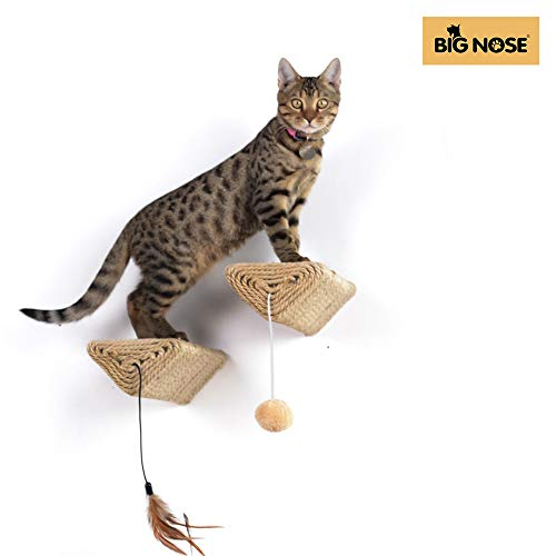 BIG NOSE - Wall Mount Cat Floating Steps Shelves Scratching Post with Leaser...