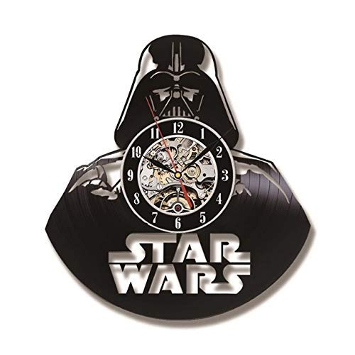 Realista y divertido LDWXXX Vinyl Music Record Reloj de pared Darth Vader Modelo Black Hollow CD Record Rel Reloj The Star Wars Theme Estilo antiguo Estilo de Vinilo Reloj de pared Colgando LED Reloj,