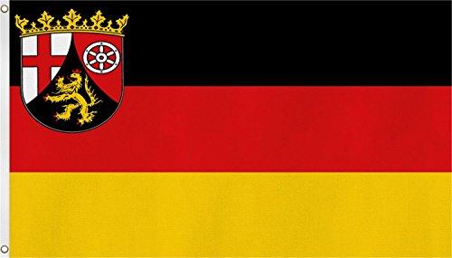 normani TOP QUALITÄT !! Fahne Flagge, Grösse: ca. 90x150 cm, Ordentliche Stoffqualität - Stoffgewicht ca. 110 gr/m2 Farbe Rheinland Pfalz