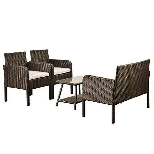 Conjunto de patio al aire libre de 4 piezas, conjunto de combinación de sofá acolchado de espuma para 4, conversación de mimbre de rota con sillas y mesa, conjunto de muebles de exterior para exterior