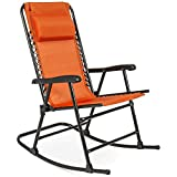 Best Choice Products Foldable Zero Gravity Rocking Mesh Patio Recliner Chair w/Headrest Pillow - Orange