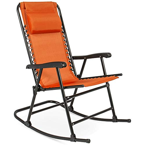Best Choice Products Foldable Zero Gravity Rocking Mesh Patio Recliner Chair w/Headrest Pillow - Orange