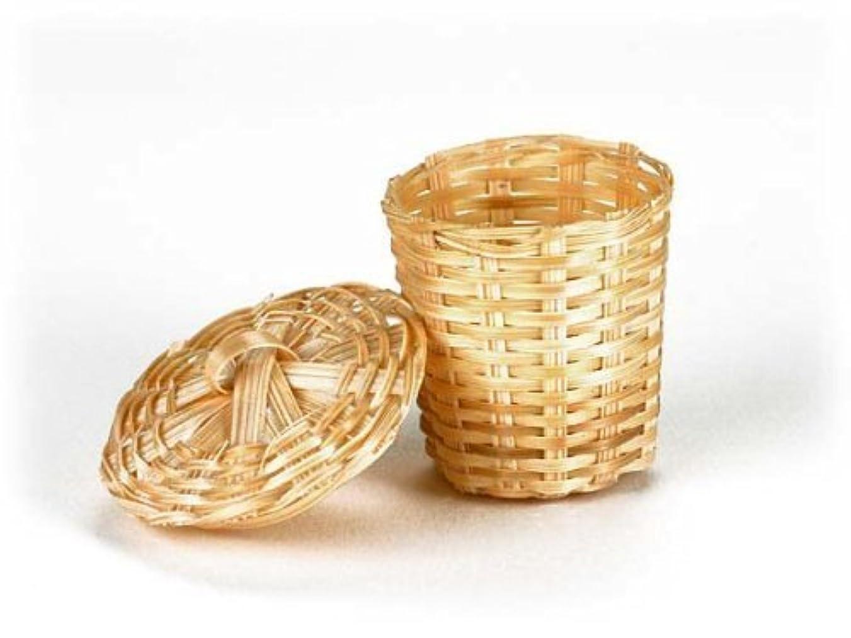 発言するモールス信号決定的Dolls House Miniature Bathroom Accessory Wicker Laundry Basket 6008