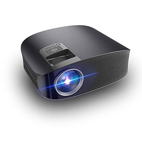 2800 lumen videoprojector, 130 inch mini-LED beweegbare filmprojector met HDMI ± 15 ° 4D Keystone-correctie, compatibel met vuur-TV-stick, VGA, USB voor thuisbioscoop