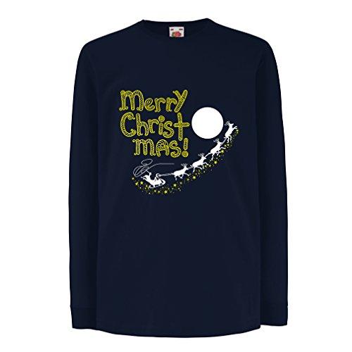lepni.me Camiseta para Niño/Niña Papá Noel y los Renos, Trajes (14-15 Years Azul Multicolor)
