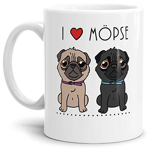 Tassendruck Mops-Tasse mit Spruch I Love Möpse/Hund/Tier/Pug/Cup/Mug/Weiss