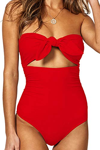 QINSEN Womens Bandeau Tie Knot Front One Piece Swimsuit High Waist Monokini Bathing Suit Red L