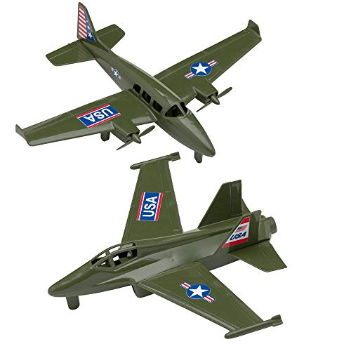 TimMee Prop Plane & Fighter Jet - Olive Green Plastic Army Men...