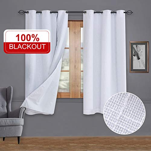 Rose Home Fashion Primitive Linen Look, 100% Blackout Curtain(with Liner), White Blackout Curtains&Thermal Insulated Curtains for Living Room/Bedroom,Burlap Curtains-42x63, White, Set of 2 Panels
