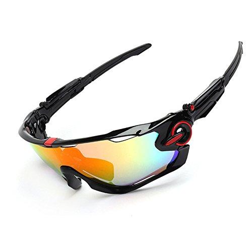 Spohife Gafas de sol deportivas, protección UV 400, irrompibles, con 3 juegos de lentes intercambiables, gafas protectoras unisex, para ciclismo, esquí, pesca, golf, etc., negro