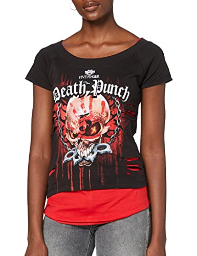 Spiral Direct 5fdp-Assassin-Licensed Band 2in1 Red Ripped Top Black Camiseta, Negro (Black & Red 005), 36 (Talla del Fabricante: Small) para Mujer