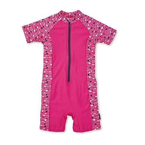 Sterntaler Mädchen Schwimmanzug mit Windeleinsatz, Kurzarm-Badeshirt und Bade-Shorts, UV-Schutz 50+, Alter: 6-12 Monate, Größe: 74/80, Farbe: Magenta
