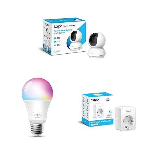 TP-Link - Cámara de Vigilancia + WiFi Enchufe Inteligente + Bombilla LED Inteligente