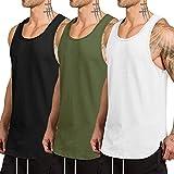 COOFANDY Pack de 3 camisetas sin mangas para hombre, secado rápido, para gimnasio, musculación, fitness, culturismo, Negro/Blanco/Verde Ejército, S