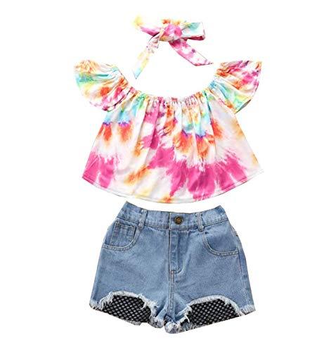 nvIEFE Conjunto de ropa de verano con estampado vintage y pantalones cortos de mezclilla