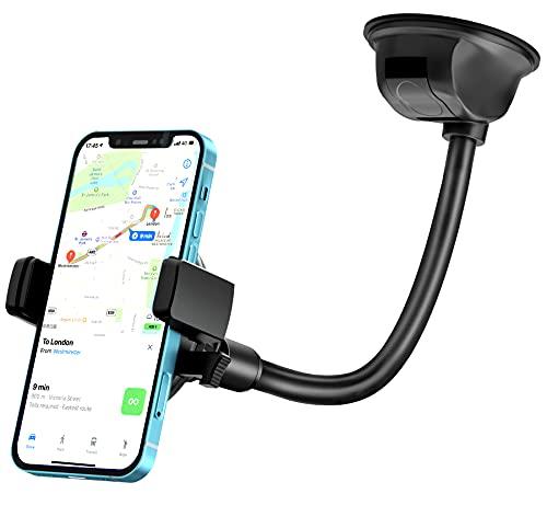 Soporte Móvil Coche, Salpicadero/Parabrisas Soporte Móvil para Coche para iPhone 12 11 XS XR X 8, Pixel, Samsung S21 S20 A71, Xiaomi Redmi, GPS etc…