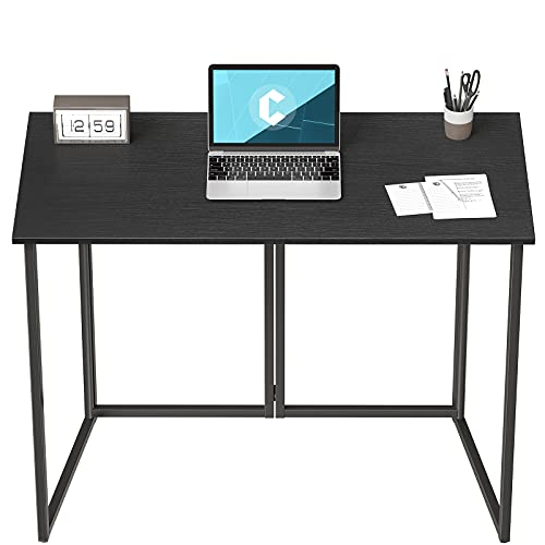 """Cubiker 40"""" Folding Computer Desk,Small Home Office Laptop Work Desk,Study Writing Table,No-Assembly,Foldable and Portable Design,Black"""