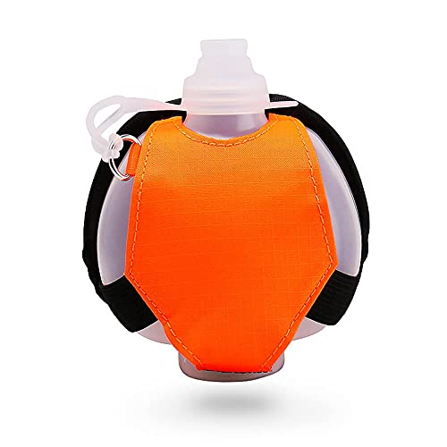Duyifan Portable Silicone Wrist Water Bottle, Outdoor Sports Bottle, Fashion Adjustable Wearable Hands-Free Leak Proof, for Running, Cycling, Hiking, Traveling (Orange)