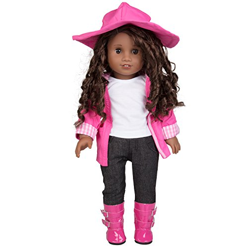"""Dress Along Dolly Rainy Day Doll Outfit for American Girl & 18"""" Dolls (6 Piece Set)- Clothes Includes Raincoat, Umbrella, Boots, Hat, & Shirt"""